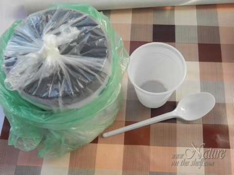 Disposable plastic cup and spoon