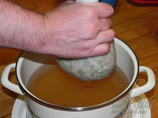 Straining of black locust syrup